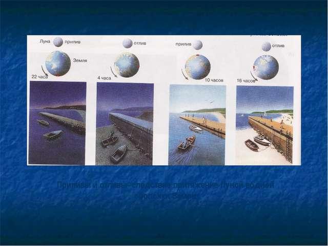 Приливы и отливы- следствие притяжение Луной водной оболочки Земли