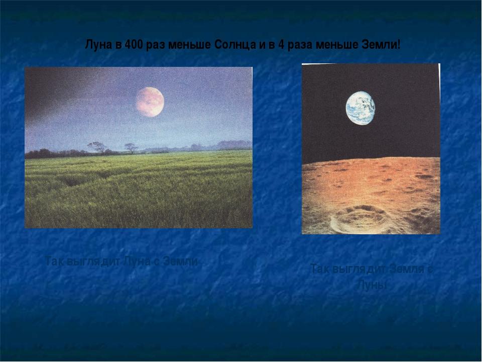 Так выглядит Луна с Земли Так выглядит Земля с Луны Луна в 400 раз меньше Сол...