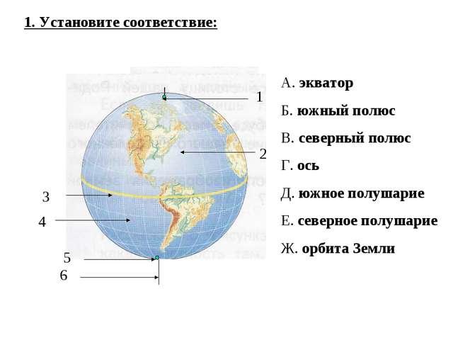 1 2 3 4 5 6 1. Установите соответствие: А. экватор Б. южный полюс В. северный...