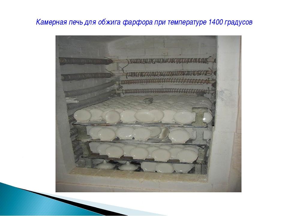 Камерная печь для обжига фарфора при температуре 1400 градусов
