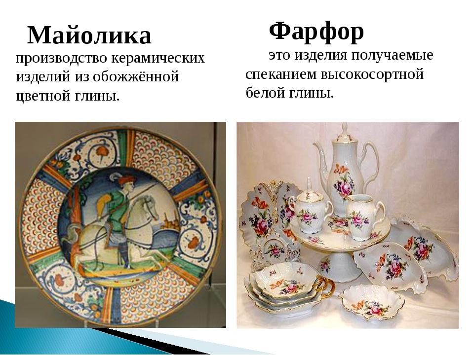Майолика производство керамических изделий из обожжённой цветной глины. Фарф...