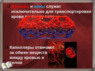 Артерии и вены служат исключительно для транспортировки крови по всему телу К