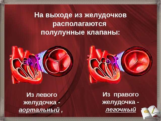 Из левого желудочка - аортальный , На выходе из желудочков располагаются полу...