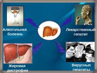 Алкогольная болезнь Лекарственный гепатит Жировая дистрофия Вирусные гепатиты