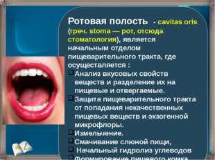 Ротовая полость - cavitas oris (греч. stoma — рот, отсюда стоматология), явля