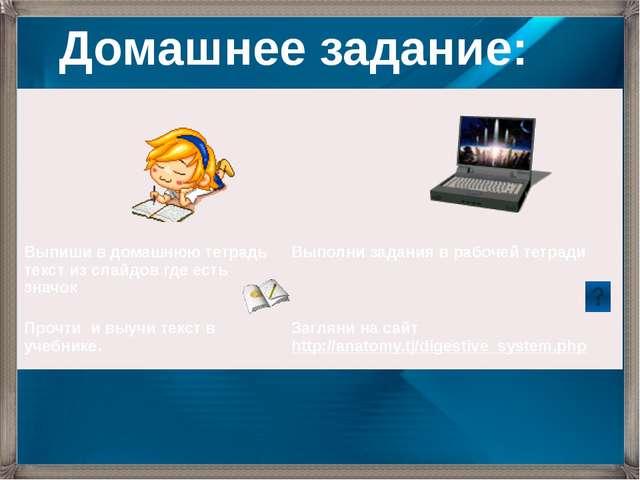 Домашнее задание: Выпишив домашнюю тетрадь текст из слайдов где есть значок В...