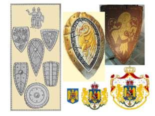Герб может изображаться в разных своих вариантах: малый – только щит, средний