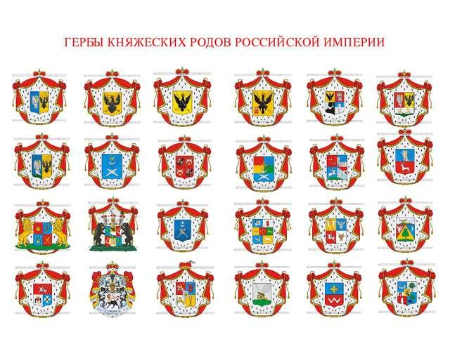 ГЕРБЫ КНЯЖЕСКИХ РОДОВ РОССИЙСКОЙ ИМПЕРИИ Как много общего в княжеских гербах!...