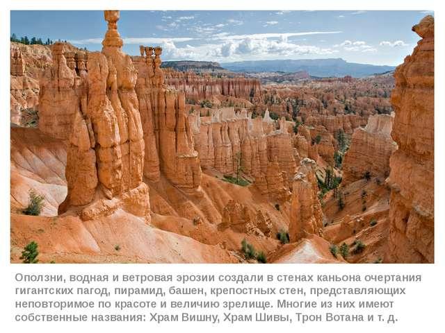 Оползни, водная и ветровая эрозии создали в стенах каньона очертания гигантск...