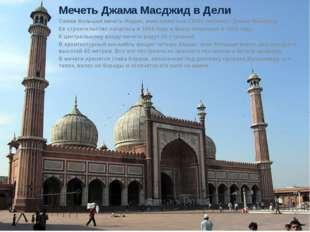 Мечеть Джама Масджид в Дели Самая большая мечеть Индии, вместимостью 25000 че