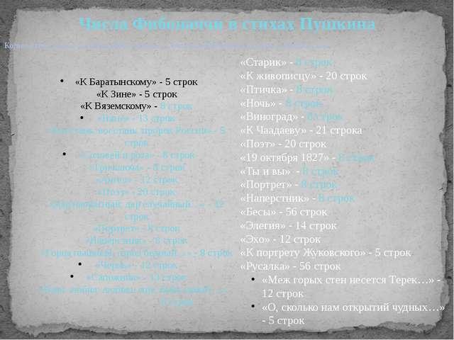 Количество строк стихотворений совпадает с числами Фибоначчи или очень близко...