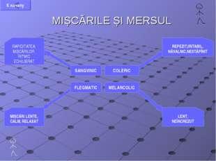 MIȘCĂRILE ȘI MERSUL SANGVINIC COLERIC FLEGMATIC MELANCOLIC REPEZIT,IRITABIL,