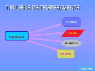 TIPUURILE DE TEMPERAMENTE содержание TEMPERAMENT FLEGMATIC MELANCOLIC COLERIC