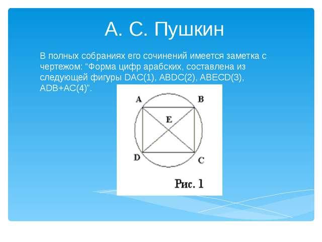 """А. С. Пушкин В полных собраниях его сочинений имеется заметка с чертежом: """"Ф..."""