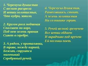 1. Черемуха душистая С весною расцвела И ветки золотистые, Что кудри, за
