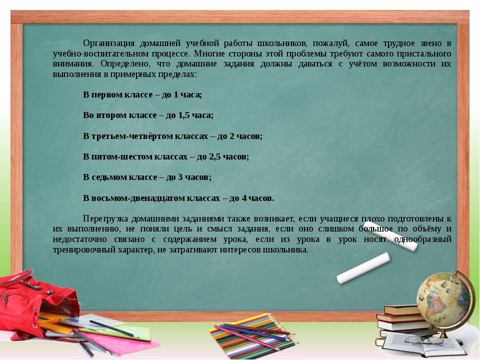 Организация домашней учебной работы школьников, пожалуй, самое трудное звен...