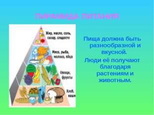 ПИРАМИДА ПИТАНИЯ Пища должна быть разнообразной и вкусной. Люди её получают б