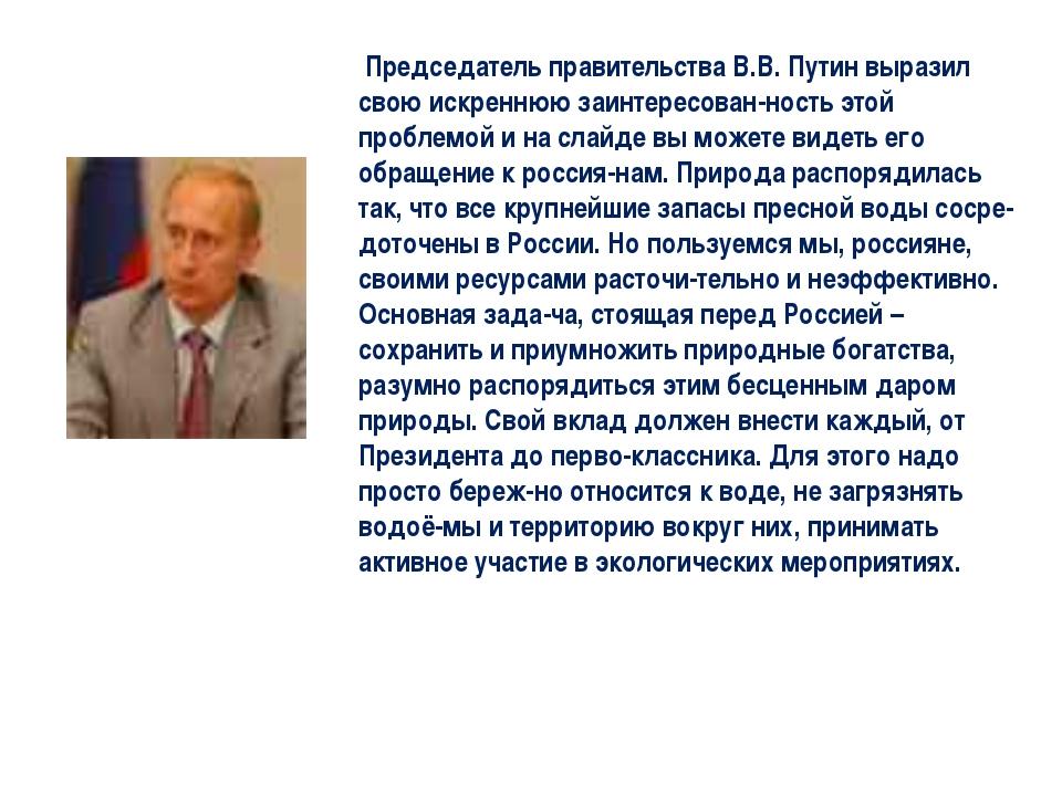 Председатель правительства В.В. Путин выразил свою искреннюю заинтересован-н...