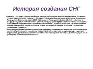 История создания СНГ 8 декабря 1991 года – в Беловежской пуще (Белоруссия) ру