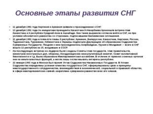 Основные этапы развития СНГ 11 декабря 1991 года Киргизия и Армения заявили о