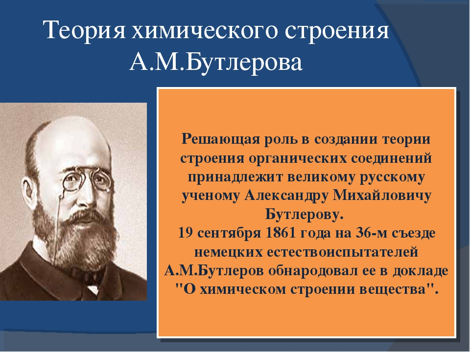 Теория химического строения А.М.Бутлерова Решающая роль в создании теории стр...