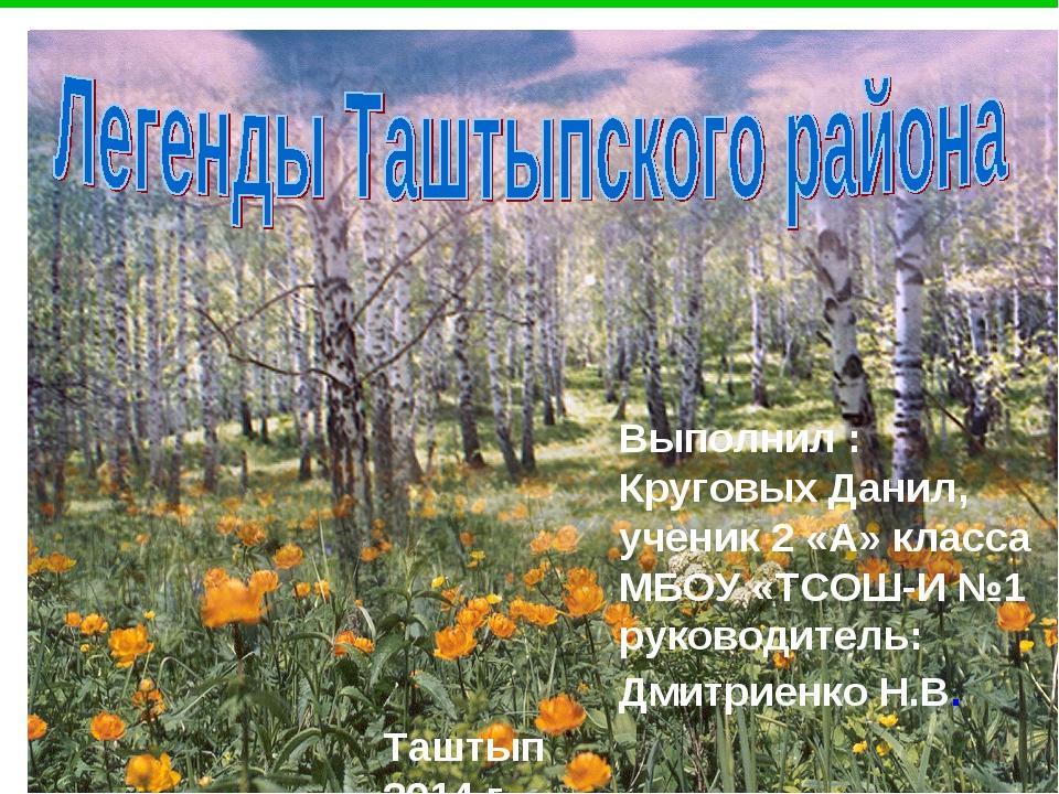 Выполнил : Круговых Данил, ученик 2 «А» класса МБОУ «ТСОШ-И №1 руководитель:...