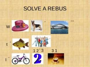 SOLVE A REBUS W , ,,, t , l , 3 1 2 1 2 , 3