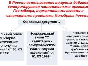 В России использование пищевых добавок контролируется национальными органами