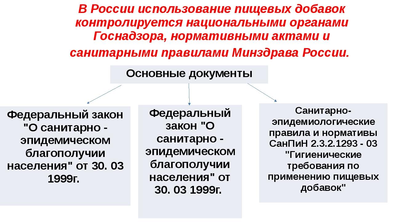 В России использование пищевых добавок контролируется национальными органами...