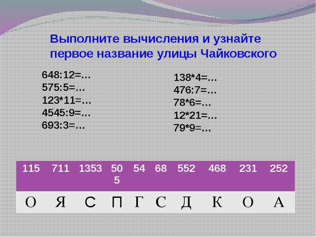 Выполните вычисления и узнайте первое название улицы Чайковского 648:12=… 575...