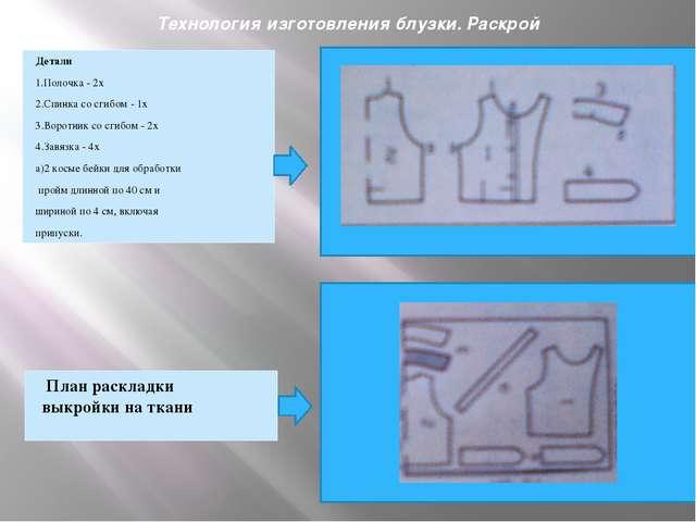 Технология изготовления блузки. Раскрой Детали 1.Полочка - 2х 2.Спинка со сг...