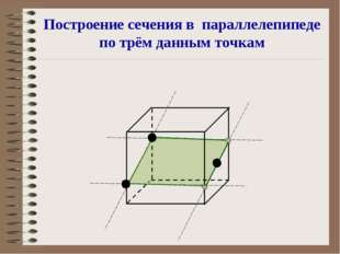 Построение сечения в параллелепипеде по трём данным точкам