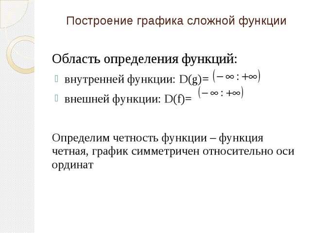 Построение графика сложной функции Область определения функций: внутренней фу...