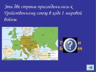Эти две страны присоединились к Тройственному союзу в ходе I мировой войны. Т