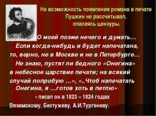 На возможность появления романа в печати Пушкин не рассчитывал, опасаясь ценз