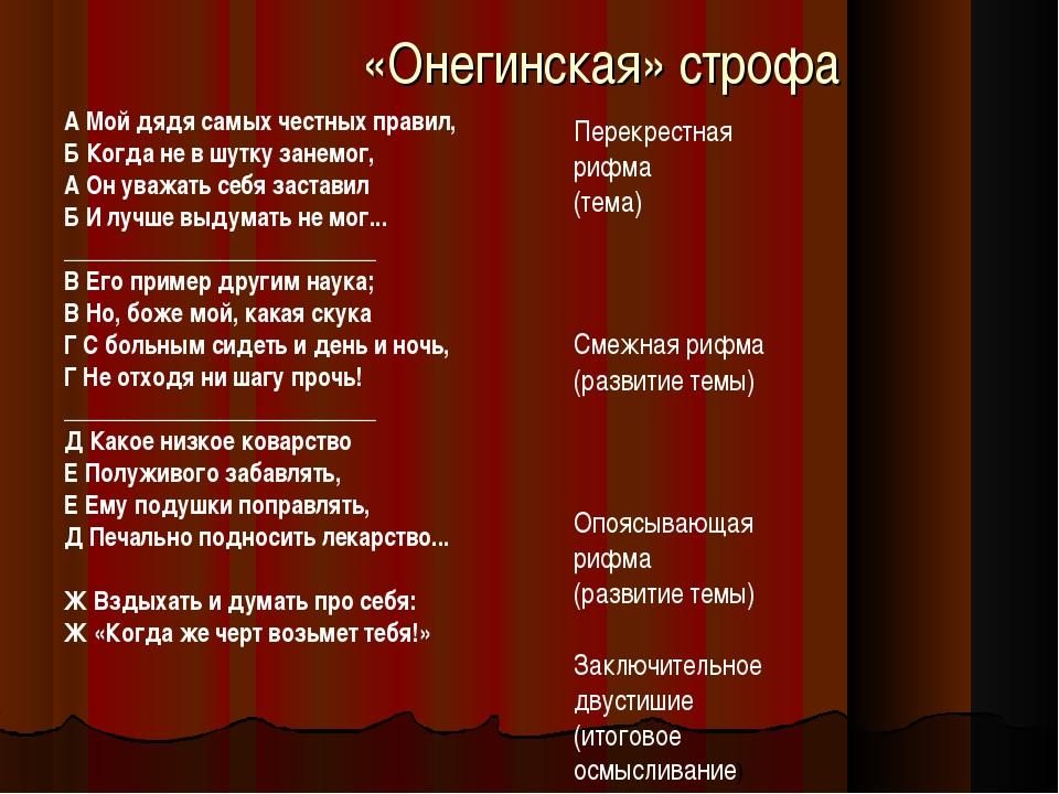 «Онегинская» строфа А Мой дядя самых честных правил, Б Когда не в шутку занем...