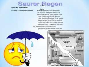 .  1) Was macht den Regen sauer? 2) Was ist durch saurer regen in Gefahr?