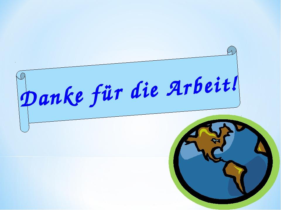 Danke für die Arbeit!