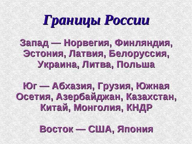 Границы России Запад — Норвегия, Финляндия, Эстония, Латвия, Белоруссия, Укра...