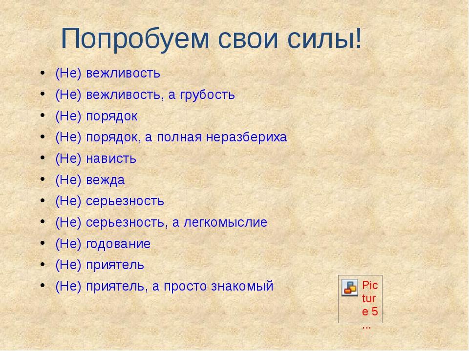 Попробуем свои силы! (Не) вежливость (Не) вежливость, а грубость (Не) порядок...