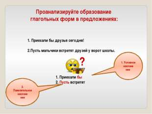 Проанализируйте образование глагольных форм в предложениях: Приехали бы друзь