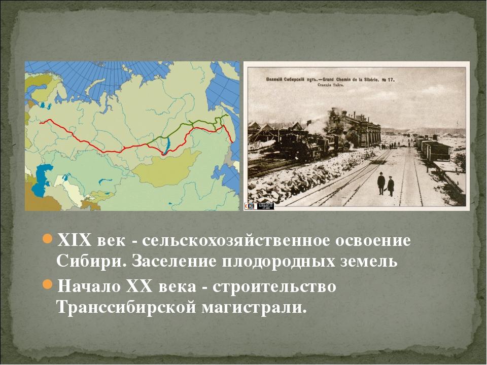 XIX век - сельскохозяйственное освоение Сибири. Заселение плодородных земель...