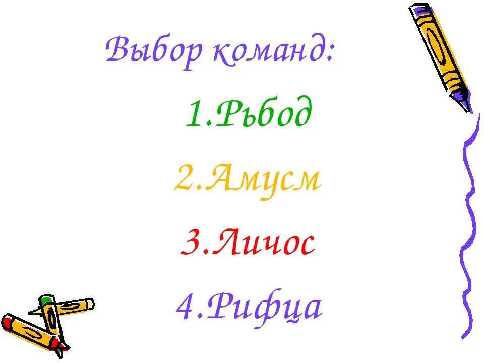 Выбор команд: Рьбод Амусм Личос Рифца
