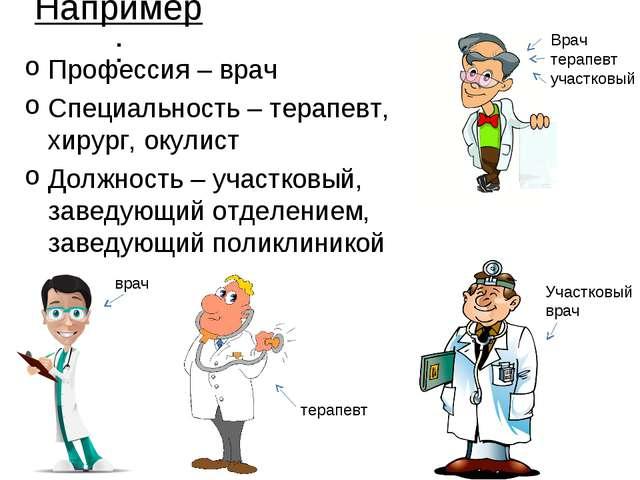 Например: Профессия – врач Специальность – терапевт, хирург, окулист Должност...