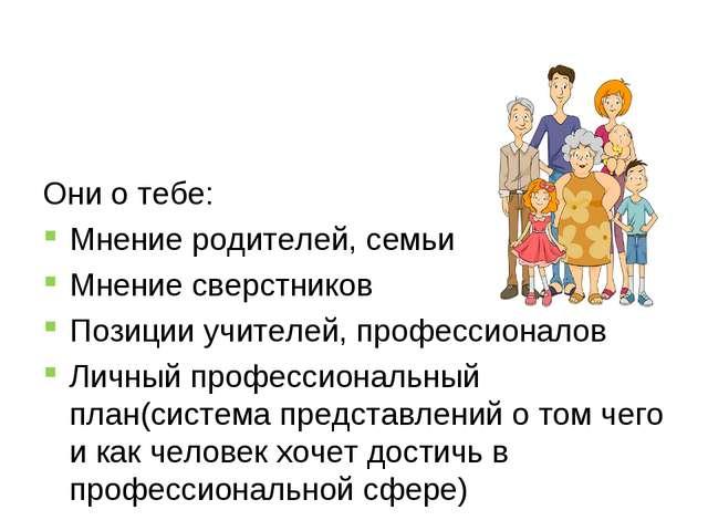 Они о тебе: Мнение родителей, семьи Мнение сверстников Позиции учителей, про...