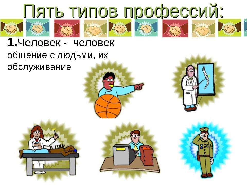 Пять типов профессий: 1.Человек - человек общение с людьми, их обслуживание