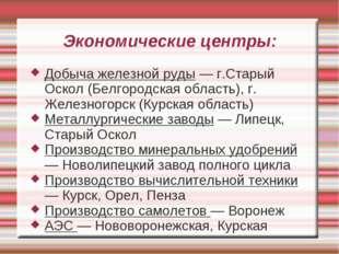 Экономические центры: Добыча железной руды — г.Старый Оскол (Белгородская обл