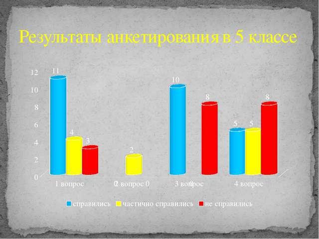 Результаты анкетирования в 5 классе