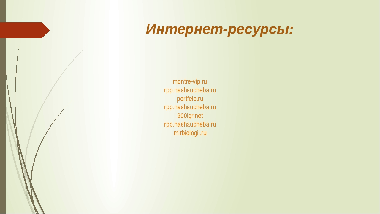 Интернет-ресурсы: montre-vip.ru rpp.nashaucheba.ru portfele.ru rpp.nashaucheb...