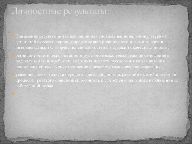 Понимание русского языка как одной из основных национально-культурных ценност...